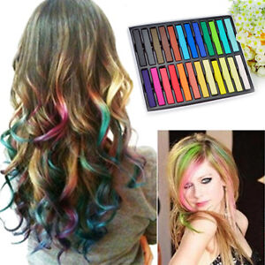 new 24 colors non toxic temporary hair chalk dye soft pastels salon kit with box ebay