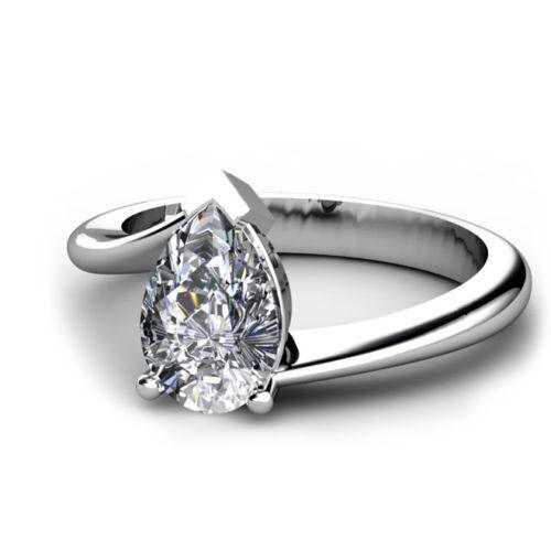 Verlobungsring, Antragsring 585 Weißgold Diamant 0,50ct R+/SI1 GIA zertifiziert