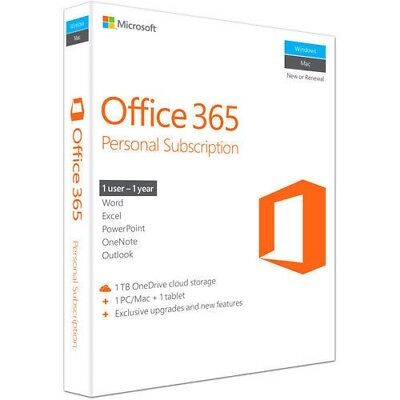 Microsoft Office 365 Personal, 1User, 1-Year Subscription, PC/Mac Key Card