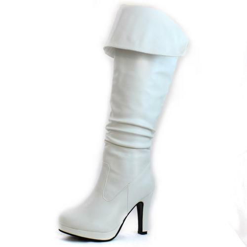 White Leather High Heel Boots EBay