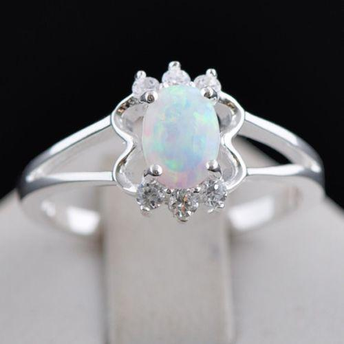 White Fire Opal Ring EBay