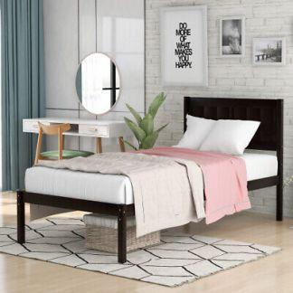 Twin Size Wooden Platform Bed Frame Foundation w/Headboard Footboard Wood Slats