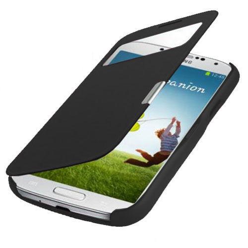 Flip Tasche S-View Samsung Galaxy S4 i9500 i9505 Hülle Case Cover Schwarz