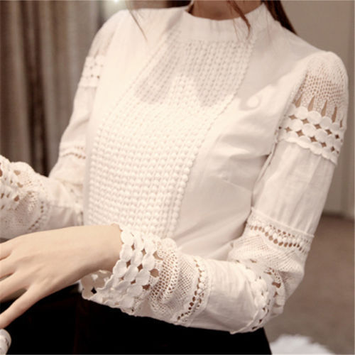 New-Womens-casual-Long-Sleeve-Lace-Hollow-Out-Blouse-Top-T-Shirt