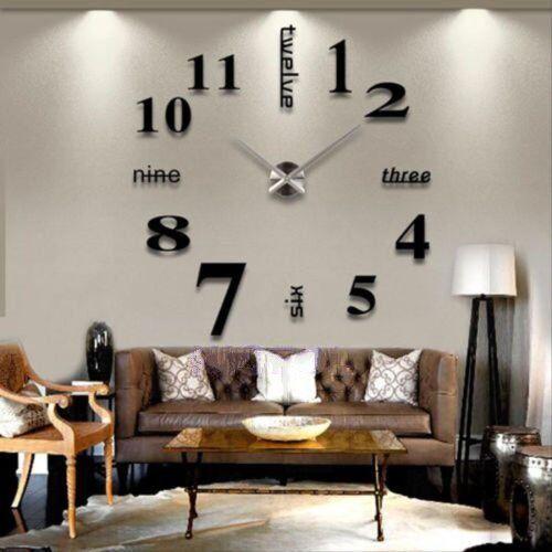 Design Wand Uhr Wohnzimmer Wanduhr Spiegel Wandtattoo Deko XXL 3D Stylisch NEU
