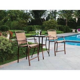Patio Outdoor Bistro Table High Chairs Set Furniture 3-Piece Porch Deck Garden
