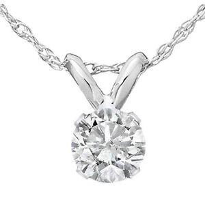 .35 Ct Solitaire Natural Diamond Pendant 14K White Gold J-K/I2-3
