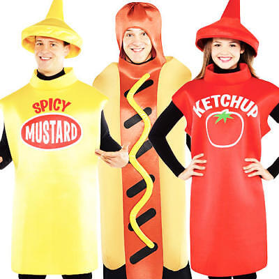 American Food Adults Fancy Dress Dinner Sauce Hot Dog Mens Ladies Costume Outfit