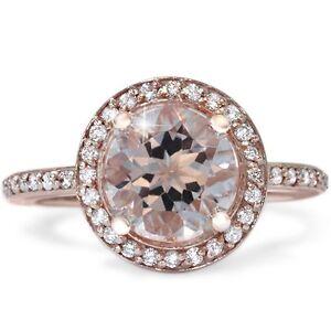 2.40CT Morganite & Diamond Halo Vintage Antique Engagement Ring 14K Rose Gold