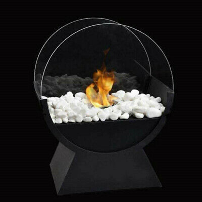 Round Glass Bio Ethanol Ventless Fire Bowl Pot Portable Tabletop Real Fireplace