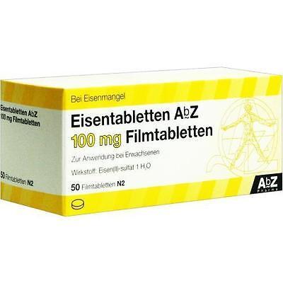 EISENTABLETTEN AbZ 100 mg Filmtabletten 50 St PZN 6683750