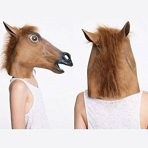 Fancy Dress Halloween Horse Head Mask Latex Animal Cosplay Party Costume 2