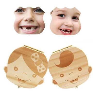 DE Kinder Zahn Box Organizer Baby Sicher Milch Holz Zähne Dose für Junge Mädchen