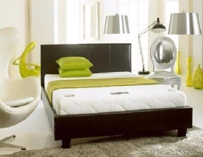 Now New Double Leather Bed In Black And Brown With Full Foam Or Sprung
