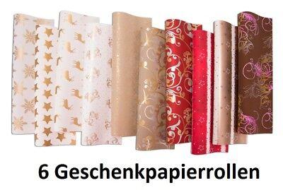 6 Rollen Geschenkpapier Weihnachten verschiedene Motive, Gold 2 x 0,7 m