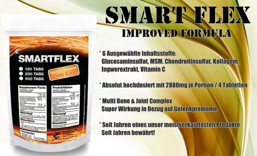 SMART FLEX - Gelenk-Komplex Formel: Glucosamin-Sulfat Chondroitin MSM Collagen