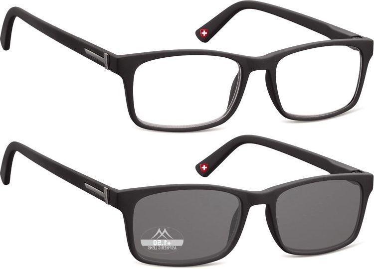 Lesebrille Montana matt schwarz Gläser klar oder getönt Lesehilfe Damen Herren
