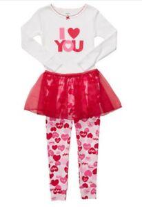 Carters 3 Pc Valentines Day Pajamas Top Pants Red Tutu