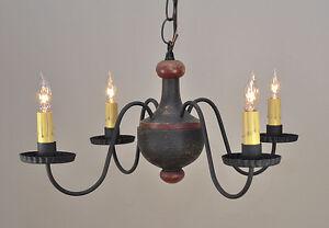 4 Arm Woodspun Primitive Chandelier In Black Wooden Light Country Lighting