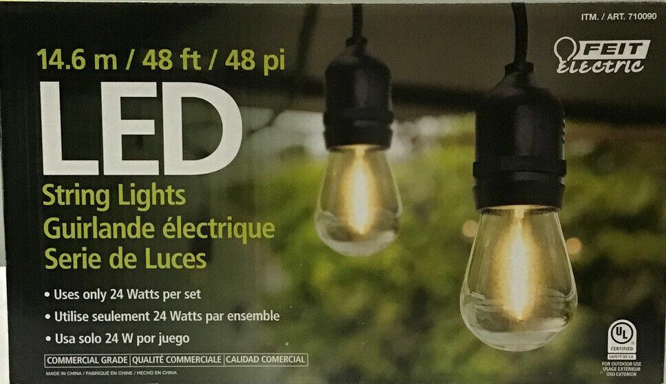 details about feit outdoor weatherproof string light set 48ft 24 light sockets w 26 led bulbs