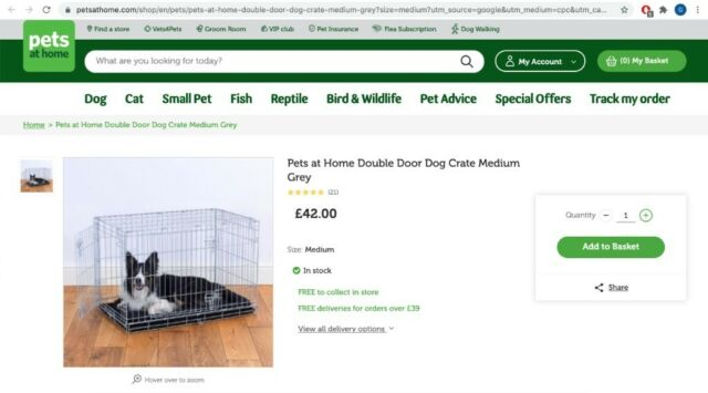 Pets At Home Double Door Dog Crate Medium Grey In Tooting Bec London Gumtree