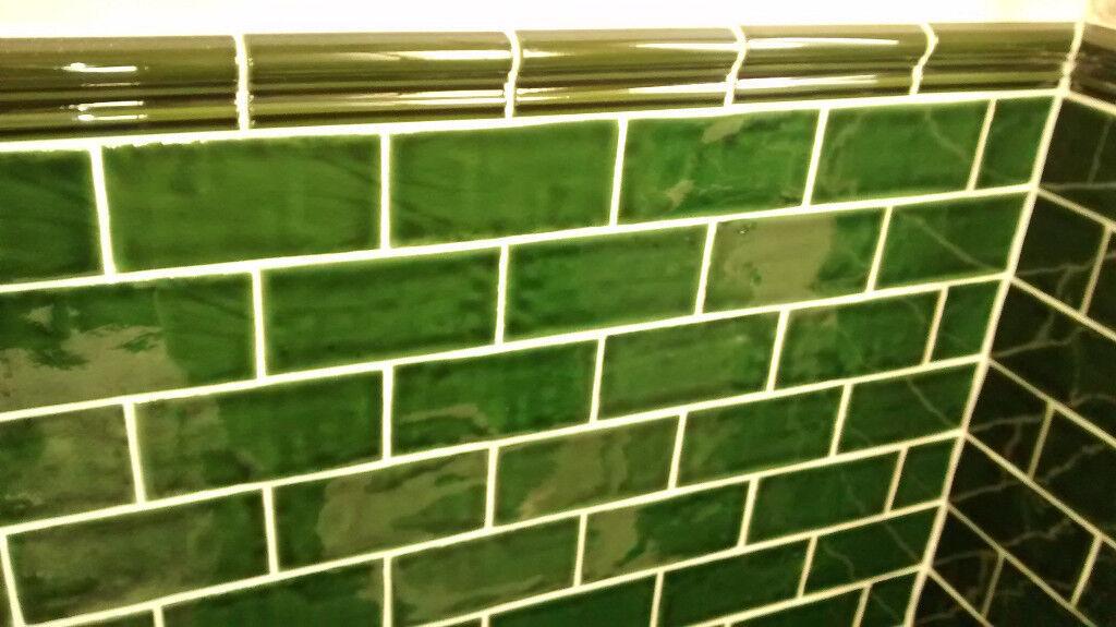 Victoria Green Crackle Glaze Tiles New X 132 75 X 15cm