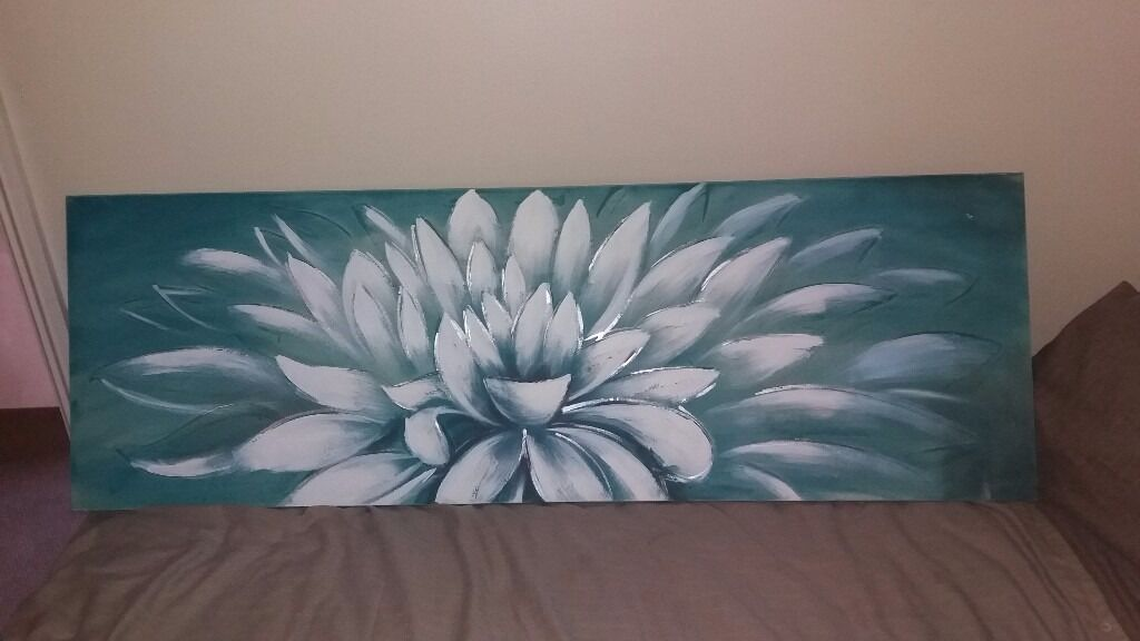 Duck Egg Flower Canvas Painting Bedroom Living Room
