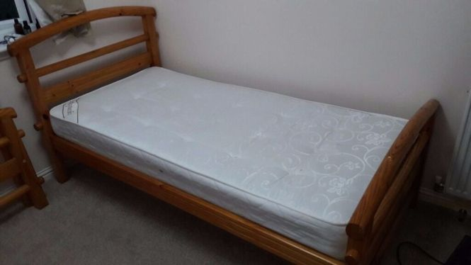 Pine Wood Single Bed With Mattress Only 35 Good Condition