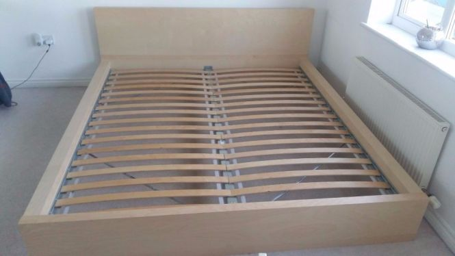 Ikea Super King Size Bed Frame Malm Wood Oak Veneer