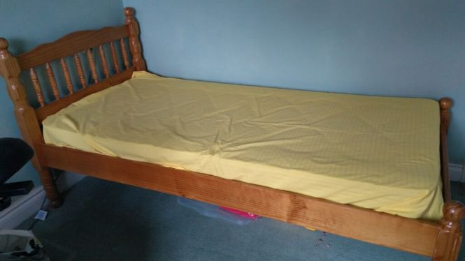3 Foot Single Pine Bed Frame And Mattress Linen Also Availablein Woburn Sands