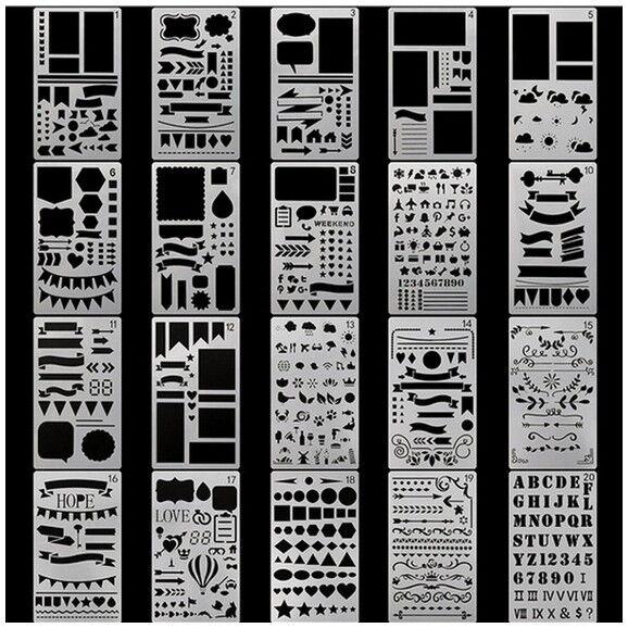 Wanddeko Scrapbooking Tagebuch Schablonen Plastik - 20x Packung vers. Motive
