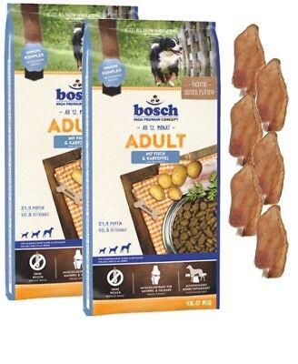 2x15kg Bosch Adult Fisch & Kartoffel Hundefutter + 6 x Kaninchenohren