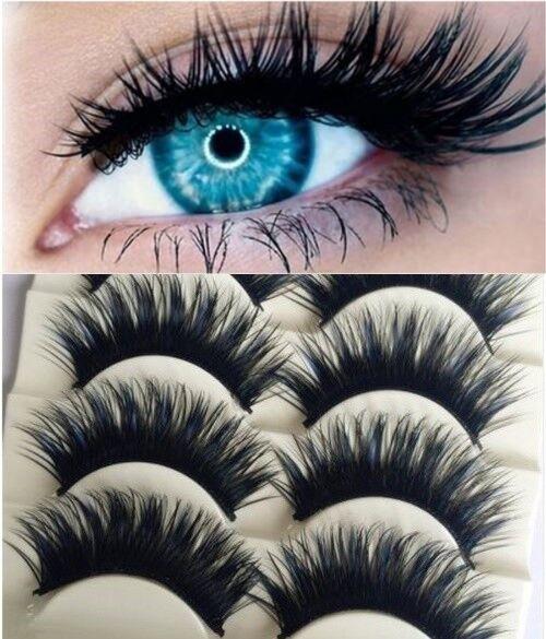 5 Paar Wimpern Künstliche Lange Falsche Wimpern Eye Lashes Make Up Blau Schwarz