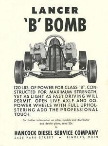 Vintage-Rare-1961-Hancock-Lancer-B-Bomb-Competition-Go-Kart-Ad