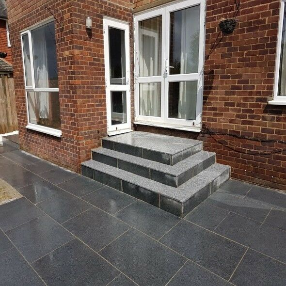 details about mid grey granite paving flags slabs pavers mixed size patio kits