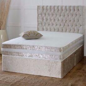 Christmas Double King Crushed Velvet Divan Bed W Memory Foam