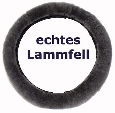 Lammfell Lenkradbezug Anthrazit Lenkradschoner Lenkradüberzug 37-39 cm Fellbezug