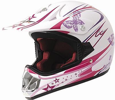 Kinder Crosshelm Endurohelm Motorradhelm pink-weiß V310-GIRL Größe XXXS - S NEU