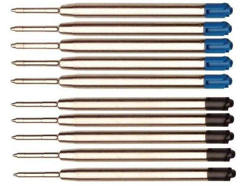 10x Metall Großraum-Mine blau/schw passend für Parker-System Kugelschreiberminen