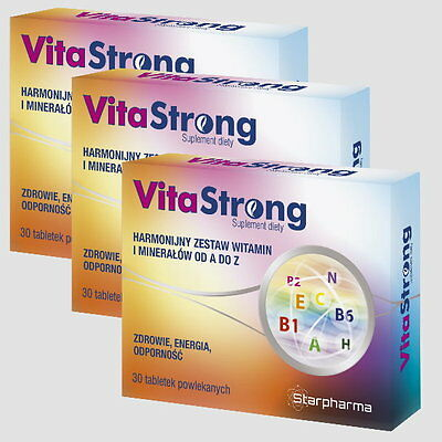 3x Vita-Strong 90 Tabletten (Vegan) f. 90 Tage A-Z Multi-Vitamin & Mineralien