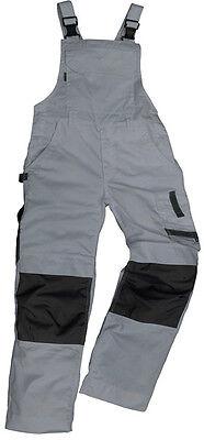 Arbeitslatzhose grau Kniepolstertaschen Arbeitskleidung Latzhose Handwerk Maco