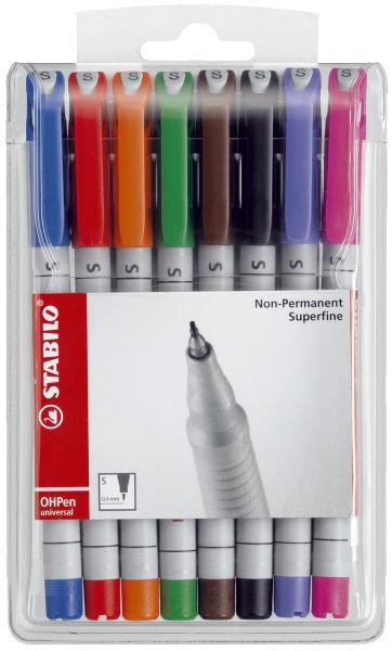 Stabilo® Folienschreiber OHPen universal Superfein, wasserlöslich, 8er Etui