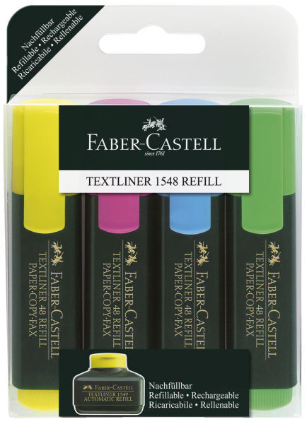 Refill Textmarker, Faber-Castell 1548, 4 Marker, Faber Castell, nachfüllbar
