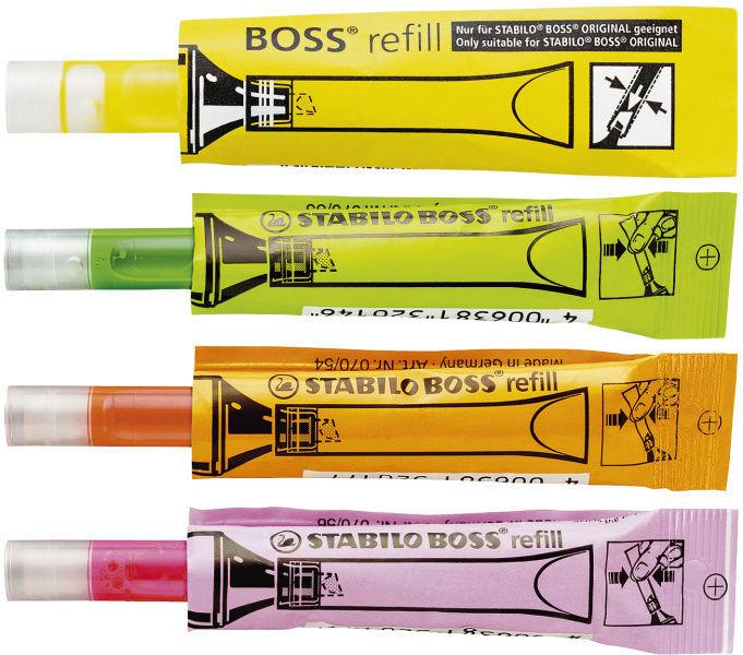 Nachfüllsystem Stabilo BOSS refill für Textmarker gelb, orange, grün, rosa