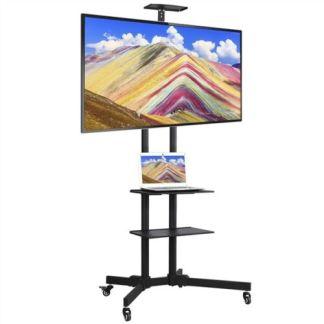 "32-65"" Adjustable Mobile TV Stand Mount Universal Flat Screen Rolling TV Cart"