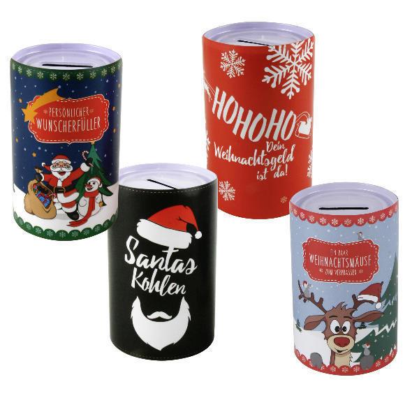 4-tlg. Set Metallspardose Weihnacht Spardosen Sparbüchsen Geldgeschenke Sparen