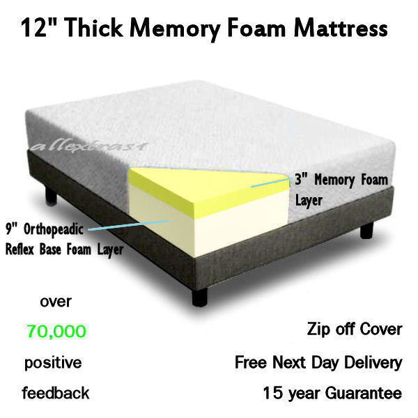 12 Inch Thick 5ft King Bed Size Memory Foam Orthopaedic Mattress Vacuum Packed