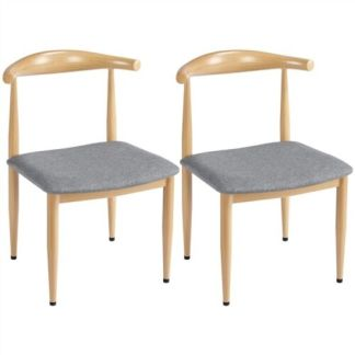 2pcs Dining Chairs with Backrest Modern Kitchen Chairs Metal Legs, Wood Color