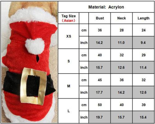 Chrismas Santa Costume Puppy Pet Dog Dress Apparel Hoodie Coat Clothing Outwear 2
