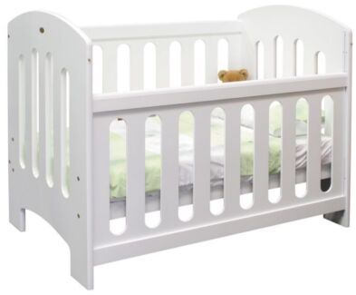 White Solid Timber Slim Line Baby Cot Mattress Change Table